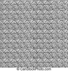 Seamless ornament from line art triangle geometric elements in ethnic style black and white