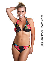 Isolated Bikini Woman - Isolated middle aged bikini woman