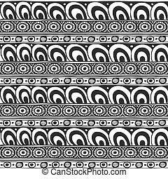 Seamless ornament from round geometric elements in zen ethnic style black and white