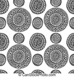 Seamless pattern of round ornaments in ethnic geometric style black and white