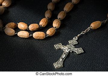 黒, 本, ロザリオ, 十字架像