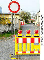 Road closure - Blocked road with stop sign