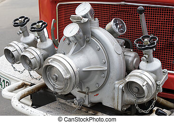 Water pump on a fire truck