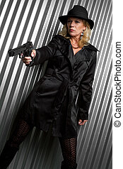 Detective Woman - Beautiful detective woman holding gun