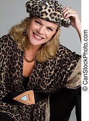 Leopardo, impresión, mujer
