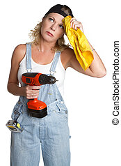 Handyman Woman - Isolated handyman woman holding drill