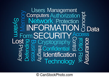Information Security Word Cloud on Blue Background