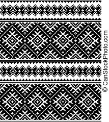 Folk art black seamless pattern - Geometric Ukrainian or...