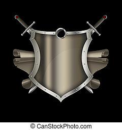 antigüidade,  Scroll, espadas, escudo