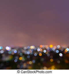 Out of focus city lights at night