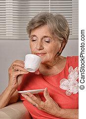 happy elderly woman - Portrait of happy elderly woman...