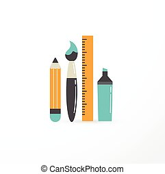 education, creativity and science illustration, pen, pencil, brush
