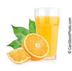 Isolated orange juice - Isolated orange juice with slices of...