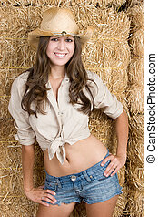 Country Woman - Beautiful country woman wearing hat