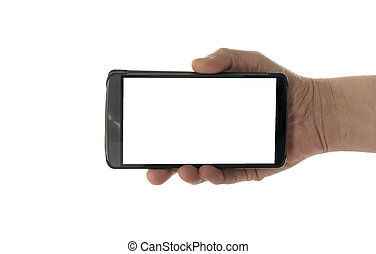 female hand with mobile phone - Image of male hand holding...