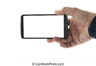 male hand with mobile phone - Image of male hand holding...