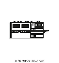 Industrial equipment. Machine. - Black and white icon on a...