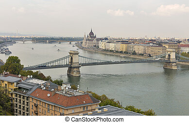 Budapest cityscape with Chain Bridge, Parliament Building...