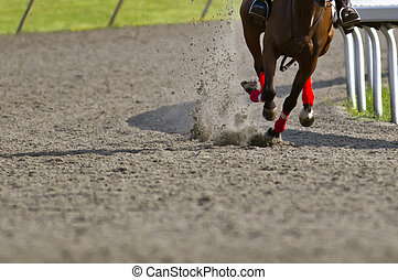Horse Racing - Close-up of Jockeys racing thoroughbreds at...