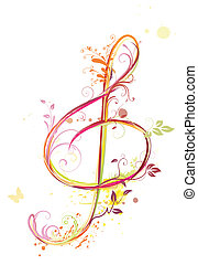 Treble clef - illustration of floral music abstract...