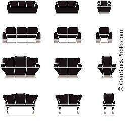 sofa icon set, seat home symbols interrior design