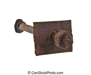 old ferruginous screw-bolts are isolated on a white...