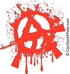 symbol anarchy - Vector illustration gun machines and red...