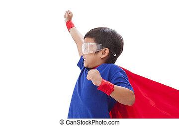 Little boy pretending to be a super