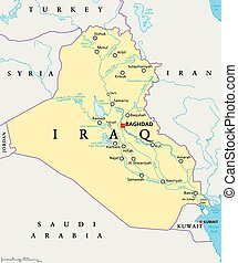 Iraq Political Map - Iraq political map with capital...
