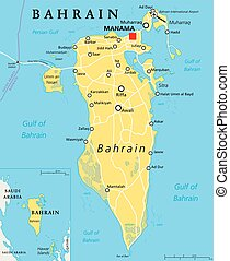 Bahrain Political Map - Bahrain political map with capital...