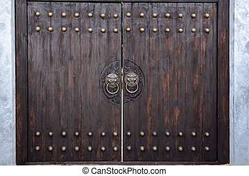 massive wooden gate in the Japanese style