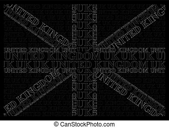 Monochrome United Kingdom Text Flag - Monochrome United...