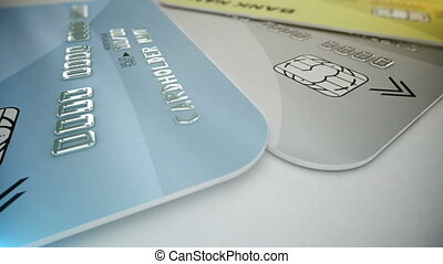 """Credit cards on white"" - ""Credit cards on white. Shopping..."