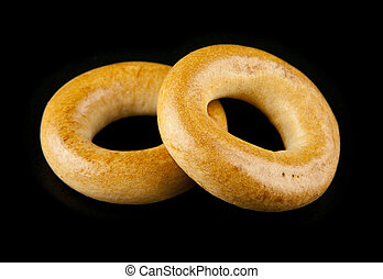 bagels on a black background