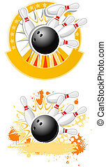 Bowling Strike emblems round shape and with splash