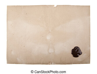 old paper with a wax seal isolated on white background