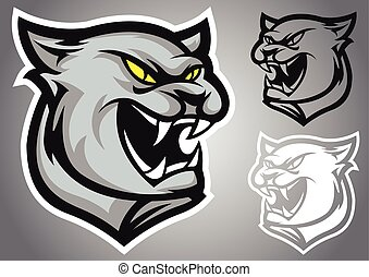 cat panther logo vector emblem