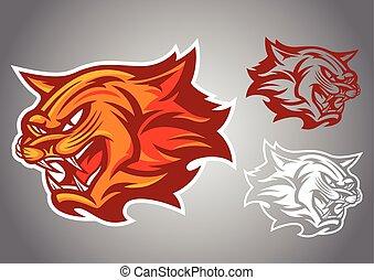 cat red logo vector emblem