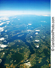 Lake Constance Bodensee, Germany Switzerland - aerial view -...