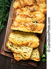 Vegetable moist bread with zucchini, carrot, cheese, eggs