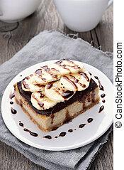 Dessert banana cheesecake - Banana cheesecake with chocolate...