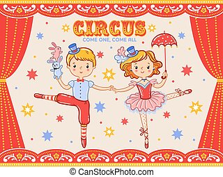 Circus vintage poster with  two circus artists.