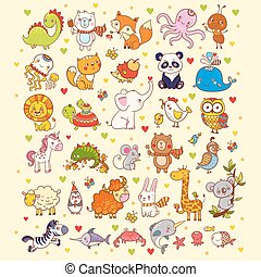 Cute vector set of animals. - Vector illustration of a set...