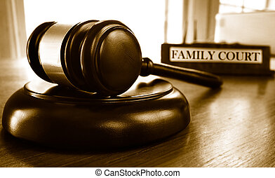 Family Court - Judge's legal gavel and Family Court...