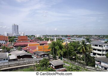 View of Nonthaburi city from MRT Purple Line skytrain...