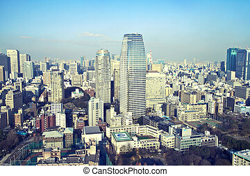 urban background - View from Tokyo Tower of the Mori...