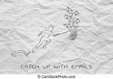 man with net, catch up with emails envelope icons - catch up...