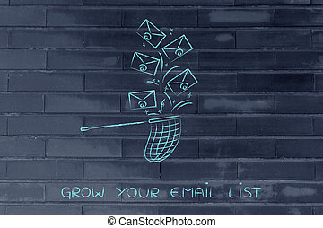 net trying to catch a group of envelopes, email management -...