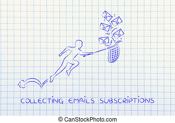 man with net colleting email subscriptions envelope icons -...