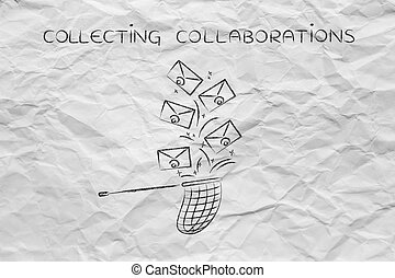 net trying to catch a group of falling emails, collecting...